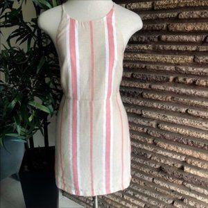 ASOS Peach Tan Striped Backless Dress NWT